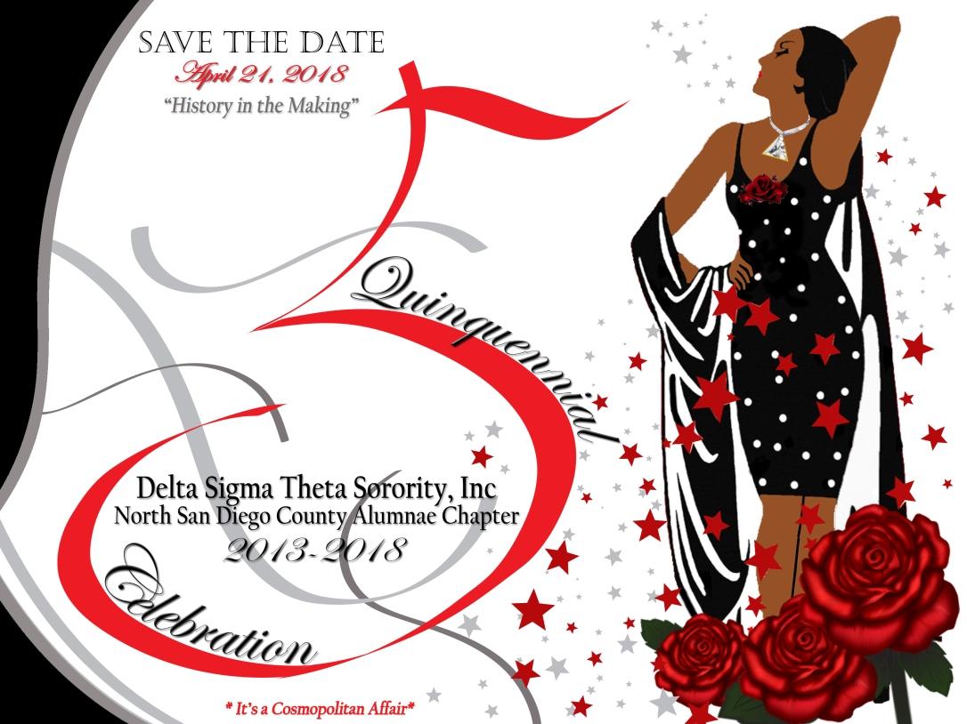 North san diego county alumnae chapter delta sigma theta sorority anniversary postcard save the date black dress biocorpaavc Gallery